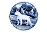 Bull Terrier Danish Blue Dog Plate