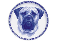 Bull Mastiff Face Danish Blue Dog Plate