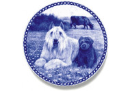 Bouvier Puppy Danish Blue Dog Plate