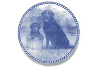 Black Labrador Retriever Puppy Danish Blue Dog Plate