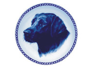 Black Labrador Retriever Face Danish Blue Dog Plate