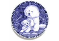 Bichon Frise Puppy Danish Blue Dog Plate