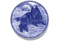 Belgian Groenendael Puppy Danish Blue Dog Plate