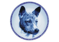 Basenji Face Danish Blue Dog Plate