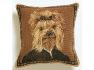 Yorkie Dressed Needlepoint Pillow