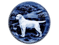 Yellow Labrador Retriever Danish Blue Dog Plate