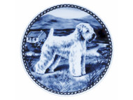 Wheaten Terrier Danish Blue Dog Plate