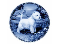 Westie Danish Blue Dog Plate