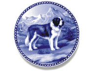 Saint Bernard Danish Blue Dog Plate