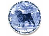 Pug (Black) Danish Blue Dog Plate