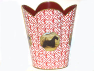 Decoupage Tin Wastepaper Basket in Red Print - Select Your Breed