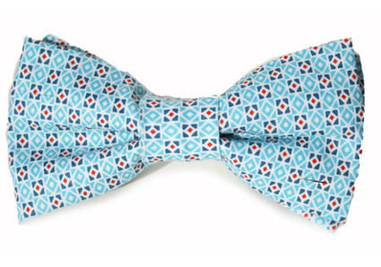 Micro Dot Bow Tie Nautical Blue For Dogs