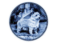 Norwich Terrier Danish Blue Dog Plate