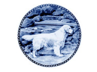 Golden Retriever (Light) Danish Blue Dog Plate