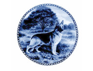 German Shepherd Danish Blue Dog Plate