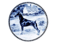 Doberman Danish Blue Dog Plate