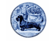 Dachshund (Wire Haired) Danish Blue Dog Plate