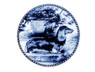 Dachshund (Long Haired) Danish Blue Dog Plate