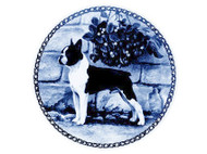 Boston Terrier Danish Blue Dog Plate