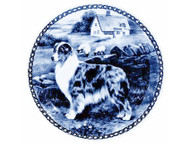 Australian Shepherd Danish Blue Dog Plate