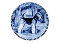 Airedale Terrier Danish Blue Dog Plate