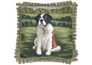 Saint Bernard Needlepoint Dog Pillow 17""