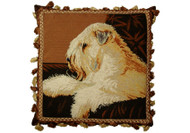 Wheaten terrier Needlepoint Pillow with fringe