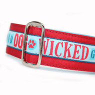 Wicked Good Martingale Dog Collar on Red