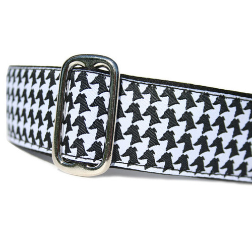 Houndstooth Hound Martingale or Metal Clasp Collar 1.5""