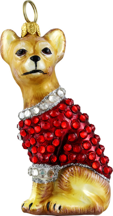 Chihuahua with Crystal Encrusted Coat Ornament