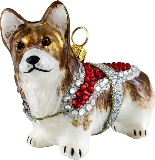 Corgi with Crystal Encrusted Coat Ornament
