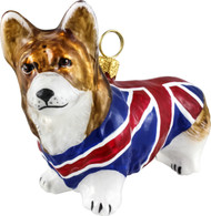 Corgi Christmas Ornament with Union Jack Coat