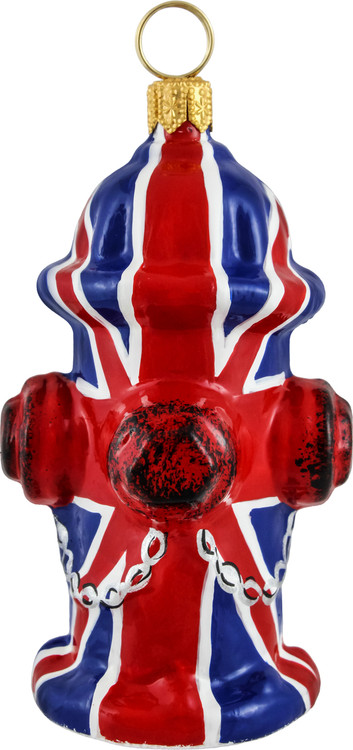 Fire Hydrant Christmas Ornament with Union Jack Flag Design
