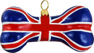Dog Bone Christmas Ornament with Union Jack Flag Design