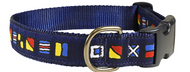 "Nautical Flags ""It's Five O'clock Somewhere"" Dog Collar and Leash"