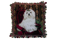 Maltese Needlepoint Pillow 16""