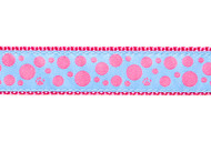 "Polka Dot Dog Collar and Leash (Pink on Light Blue)- Set on Sale 1/2"" XXS"