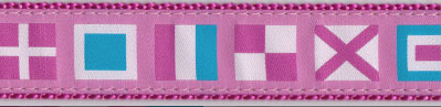 Pink Nautical Flags Dog Collar and Leash
