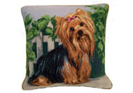 Yorkie Needlepoint Pillow 14""