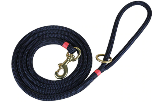 marine dock line dog leash in navy with coral trim