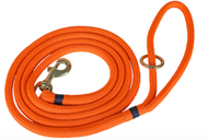 Marine Dock Line Dog Leash in Orange with Navy Trim