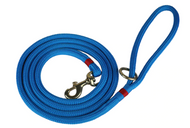 marine dock line dog leash in light blue with red trim