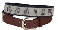 dog faces dog belt with leather tab