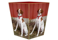 Custom Decoupage Dog Wastepaper Basket Gold Trim