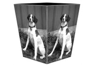 Custom Decoupage Dog Wastepaper Basket Silver Trim