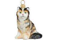 Maine Coon Cat Glass Christmas Ornament (Tortoise Shell)