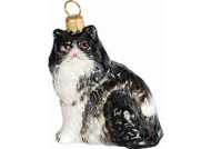 Persian Cat Glass Christmas Ornament (Black and White)