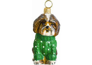 Shih Tzu w/Green Cable Sweater Glass Christmas Ornament