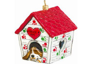 "Dog House Glass Christmas Ornament ""Home Sweet Forever Home"""