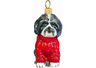 Shih Tzu w/Red Cable Sweater Glass Christmas Ornament